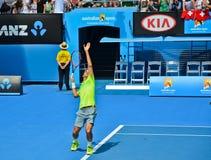 Roger Federer bawić się w australianie open Obrazy Stock