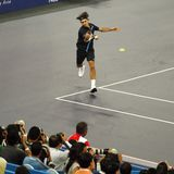 Roger Federer de Suiza en acciones Fotos de archivo libres de regalías