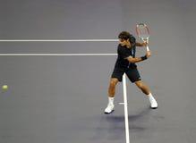 Roger Federer de Suiza en acciones Foto de archivo libre de regalías