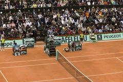 Roger Federer della Svizzera e di Robin Soderling Fotografia Stock Libera da Diritti