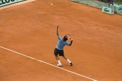 Roger Federer della Svizzera nell'azione al francese Fotografie Stock Libere da Diritti