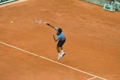 Roger Federer della Svizzera nell'azione al francese Immagini Stock Libere da Diritti