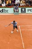 Roger Federer della Svizzera nell'azione al francese Immagine Stock