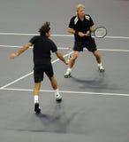 Roger Federer e Bjorn Borg nas ações Fotografia de Stock Royalty Free
