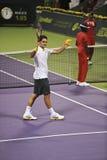 Roger Federer en la acción Fotografía de archivo libre de regalías