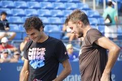 Roger Federer en Stanislas Wawrinka Royalty-vrije Stock Foto's
