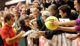 Roger Federer et fans Photos stock