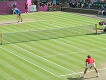 Roger Federer et John Isner Photographie stock libre de droits