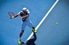 Roger Federer forehand Fotografia Royalty Free