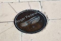 Roger Federer fotspår Royaltyfri Fotografi