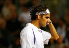 Roger Federer gestures during match in mallorca. Switzerland tennis player Roger Federer gestures during his game against Rafa Nadal in the Spanish island of Stock Photo