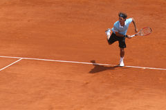 Roger Federer at Masters Series Montecarlo. Switzerland's top ranked tennis player Roger Federer during the exhibition match at Masters Series of Montecarlo Royalty Free Stock Photos