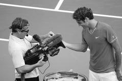 Roger Federer. MONTREAL - AUGUST 7: Roger Federer on court of Montreal Rogers Cup on August 7, 2011 in Montreal, Canada. Roger Federer is a Swiss professional Stock Images