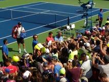 Roger Federer no US Open 2017, New York City, New York, EUA foto de stock royalty free