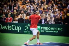 Roger Federer. NOVI SAD - JANUARY 31: ROGER FEDERER of Switzerland during the Davis Cup match between Serbia and Switzerland, January 31 2014, Novi Sad, Serbia Royalty Free Stock Image