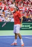 Roger Federer. NOVI SAD - JANUARY 31: ROGER FEDERER of Switzerland during the Davis Cup match between Serbia and Switzerland, January 31 2014, Novi Sad, Serbia Stock Photo