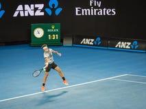 Roger Federer på det australiskt öppnar tennisturnering 2017 Arkivfoto