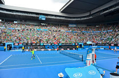 Roger Federer playing in the Rod Laver Area Royalty Free Stock Images