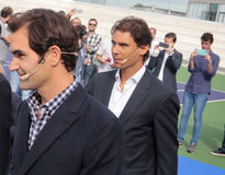Roger Federer and Rafa Nadal arrive at the Nadal´s Academy opening Royalty Free Stock Photography