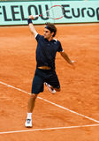 Roger Federer at Roland Garros 2008. Switzerland�s top ranked tennis player Roger Federer during the match at Roland Garros (French Open). Paris, May 2008 Stock Photo
