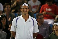 Roger Federer smiling before match. Switzerland tennis player Roger Federer smiles before his game against Rafa Nadal in the Spanish island of Mallorca Royalty Free Stock Image