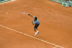 Roger Federer of Switzerland in action at French Royalty Free Stock Images
