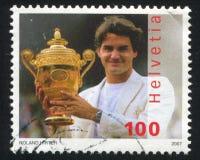 Roger Federer. SWITZERLAND - CIRCA 2007: stamp printed by Switzerland, shows Roger Federer, circa 2007 Royalty Free Stock Photo