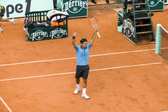 Roger Federer of Switzerland rejoices to win at. PARIS - JUNE 7: Roger Federer of Switzerland rejoices to win at French Open, Roland Garros, final game on June 7 stock photography