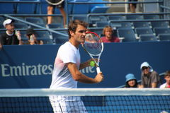 Roger Federer. Tennis legend Roger Federer during his practice session at the 2013 US open tennis tournament Royalty Free Stock Images