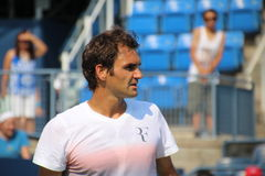 Roger Federer. Tennis legend Roger Federer during his practice session at the 2013 US open tennis tournament Stock Photos