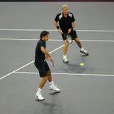 Roger Federer und Bjorn Borg in den Tätigkeiten Stockfoto