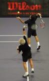 Roger Federerand Bjorn Borg nelle azioni Immagini Stock