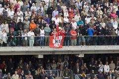 Roger Federers Fans with flag on tribunes at Ten Stock Photos