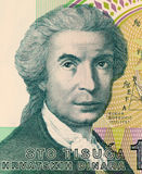 Roger Joseph Boscovich. On 100 Dinar 1991 Banknote from Croatia. Physicist, mathematician, astronomer, philosopher, diplomat, poet, and Jesuit from Ragusa royalty free stock image