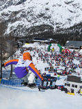 Roger Kleivdal NOR Half Pipe. Race World Cup snowboard Half Pipe in Valmalenco Italy Stock Photos