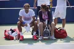 Roger and Mirka Federer. Tennis legend Roger Federer and his wife Mirka during his practice session at the 2013 US open tennis tournament Stock Photo