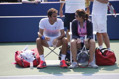 Roger and Mirka Federer. Tennis legend Roger Federer and his wife Mirka during his practice session at the 2013 US open tennis tournament Stock Images