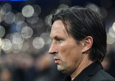 Roger Schmidt. Leverkusen head coach Roger Schmidt pictured during UEFA Champions League Group E game between Tottenham Hotspur and Bayer Leverkusen on November Royalty Free Stock Image