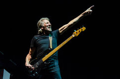 Roger Waters (Pink Floyd) bass guitar. Roger Waters of Pink Floyd while touring in 2013, during The Wall Live show Royalty Free Stock Photography