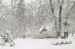 Roger Williams Park. In Providence, Rhode Island looks so peaceful as it is covered with snow Stock Images