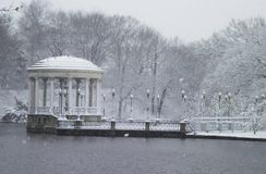 Roger Williams Park. In Providence, Rhode Island looks so peaceful as it is covered with snow.  Image taken from color slide Stock Images