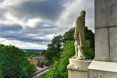 Roger Williams Statue - Prospect Terrace Park. Prospect Terrace Park view of the Providence skyline and Roger Williams statue, Providence, Rhode Island, USA Stock Image