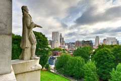 Roger Williams Statue - Prospect Terrace Park. Prospect Terrace Park view of the Providence skyline and Roger Williams statue, Providence, Rhode Island, USA Stock Images