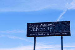 Roger Williams University Sign Stock Images