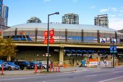 Rogers Arena i stadens centrum Vancouver, British Columbia Arkivbilder