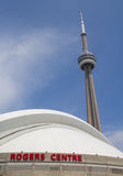 Rogers Centre with the CN Tower in the Background Royalty Free Stock Photos