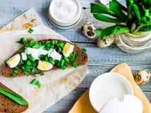 Roggebrood met wilde knoflook, zure room en kwartelseieren, snack, aan Royalty-vrije Stock Afbeelding