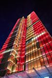 Rogier Tower at night with colorful lights. Brussels, Belgium royalty free stock images