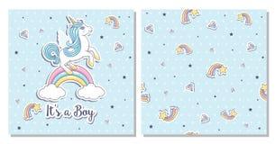 RoGreeting卡片它` s有独角兽的一个男孩在一蓝色backgund 免版税库存照片