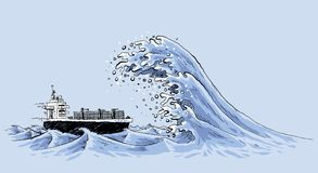 Rogue Wave on Ship. A freighter ship in the ocean is about to be hit by a gigantic, fast rogue wave of churning water Royalty Free Stock Image